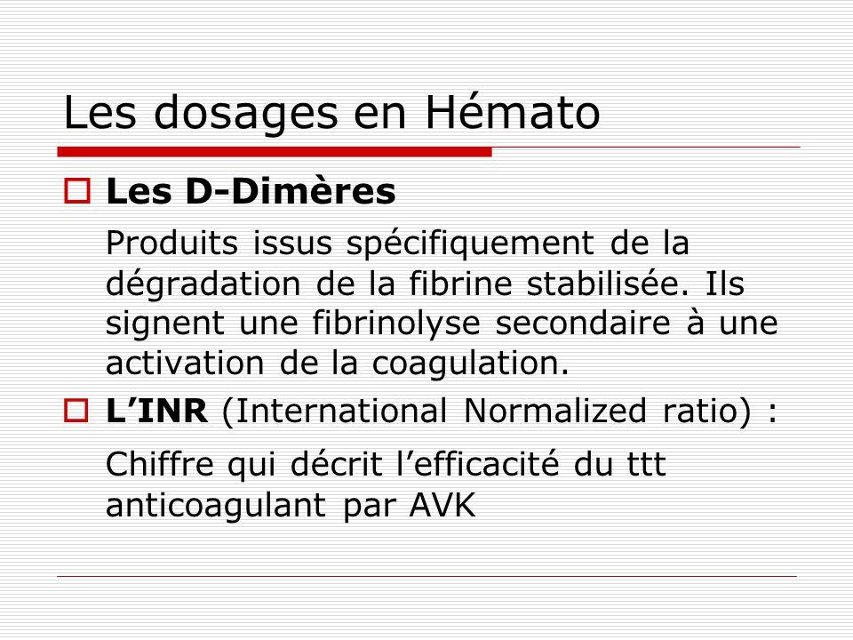 Les dosages en Hémato Les D-Dimères Produits issus spécifiquement de la dégradation de la fibrine stabilisée. Ils signent une fibrinolyse secondaire à