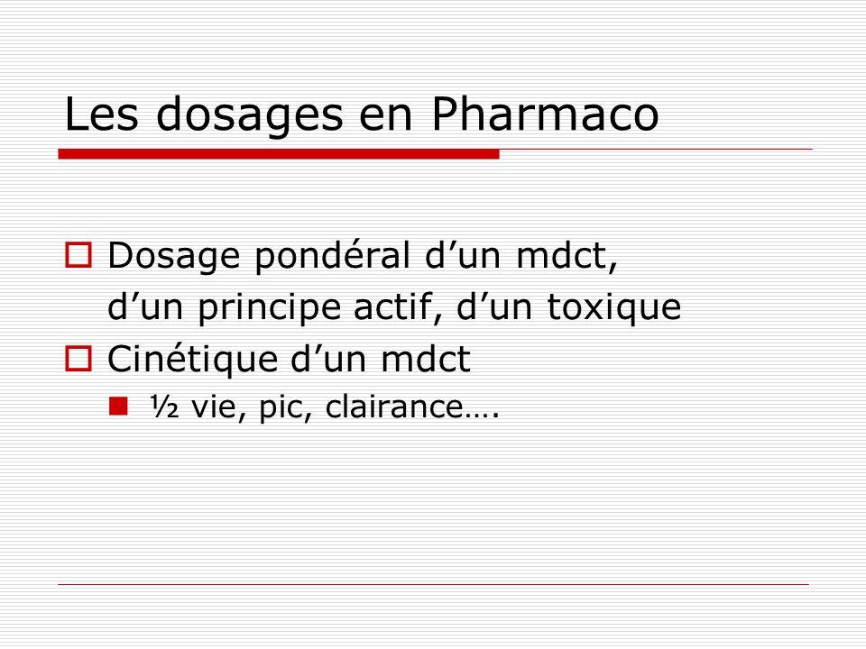 Les dosages en Pharmaco Dosage pondéral dun mdct, dun principe actif, dun toxique Cinétique dun mdct ½ vie, pic, clairance….