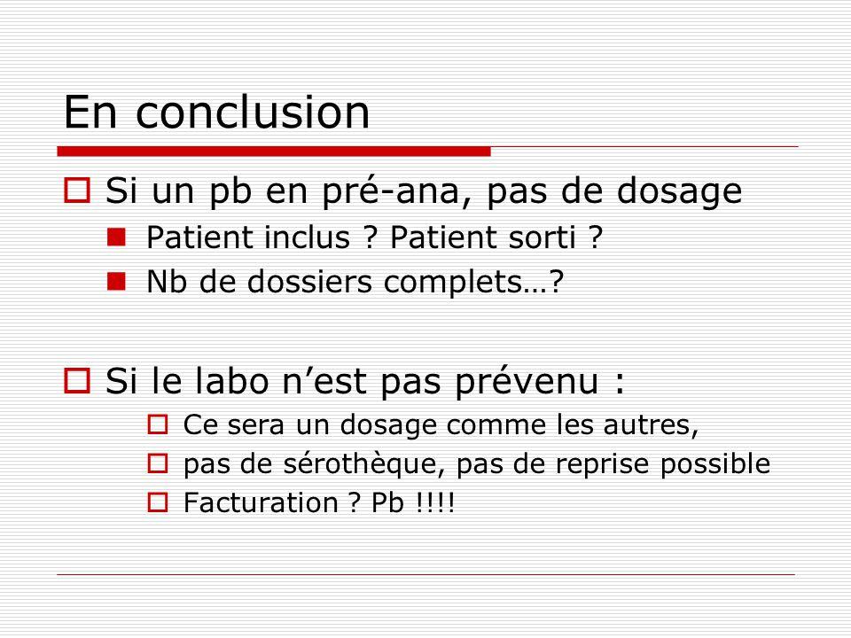 En conclusion Si un pb en pré-ana, pas de dosage Patient inclus ? Patient sorti ? Nb de dossiers complets…? Si le labo nest pas prévenu : Ce sera un d