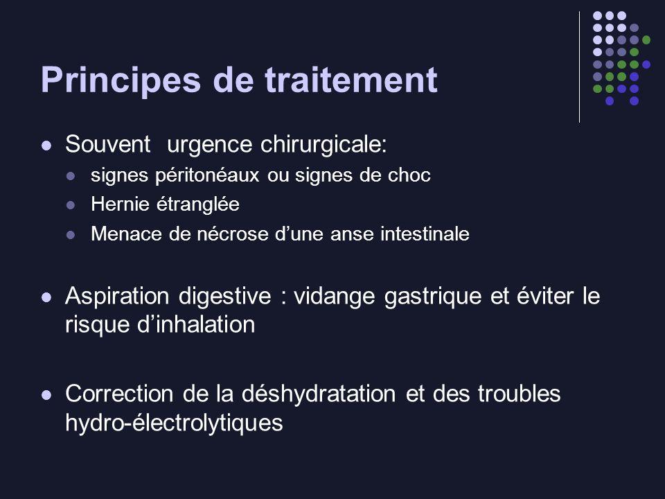 Principes de traitement Souvent urgence chirurgicale: signes péritonéaux ou signes de choc Hernie étranglée Menace de nécrose dune anse intestinale As