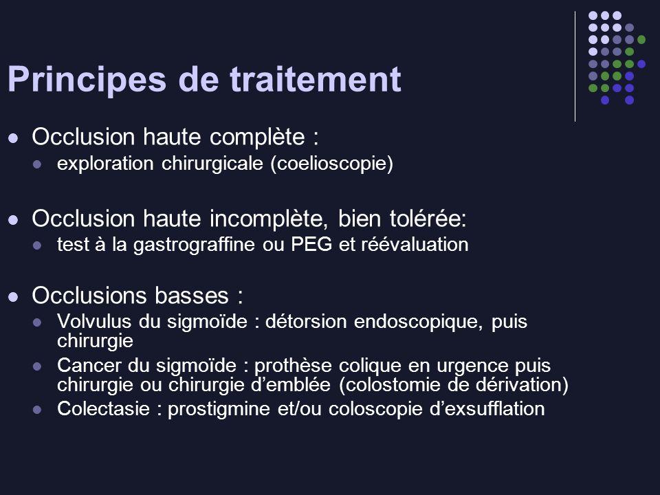 Principes de traitement Occlusion haute complète : exploration chirurgicale (coelioscopie) Occlusion haute incomplète, bien tolérée: test à la gastrog