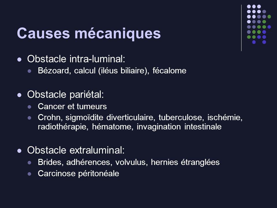 Causes mécaniques Obstacle intra-luminal: Bézoard, calcul (iléus biliaire), fécalome Obstacle pariétal: Cancer et tumeurs Crohn, sigmoïdite diverticul