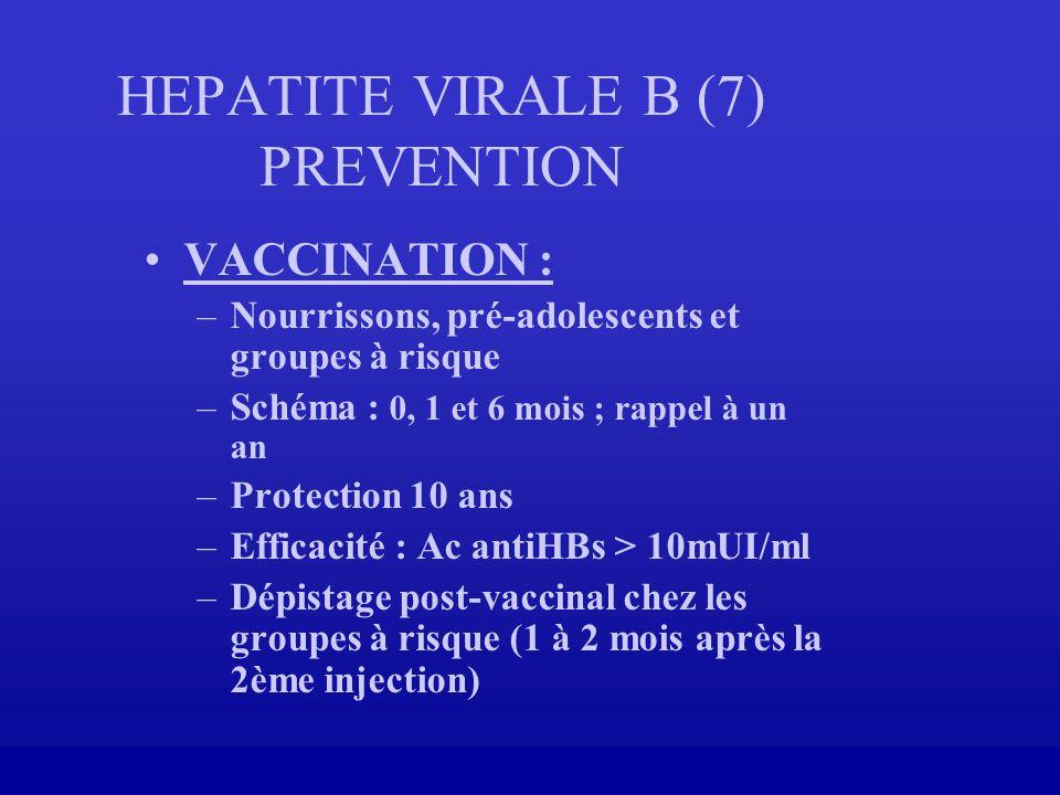 HEPATITE VIRALE B (7) PREVENTION VACCINATION : –Nourrissons, pré-adolescents et groupes à risque –Schéma : 0, 1 et 6 mois ; rappel à un an –Protection
