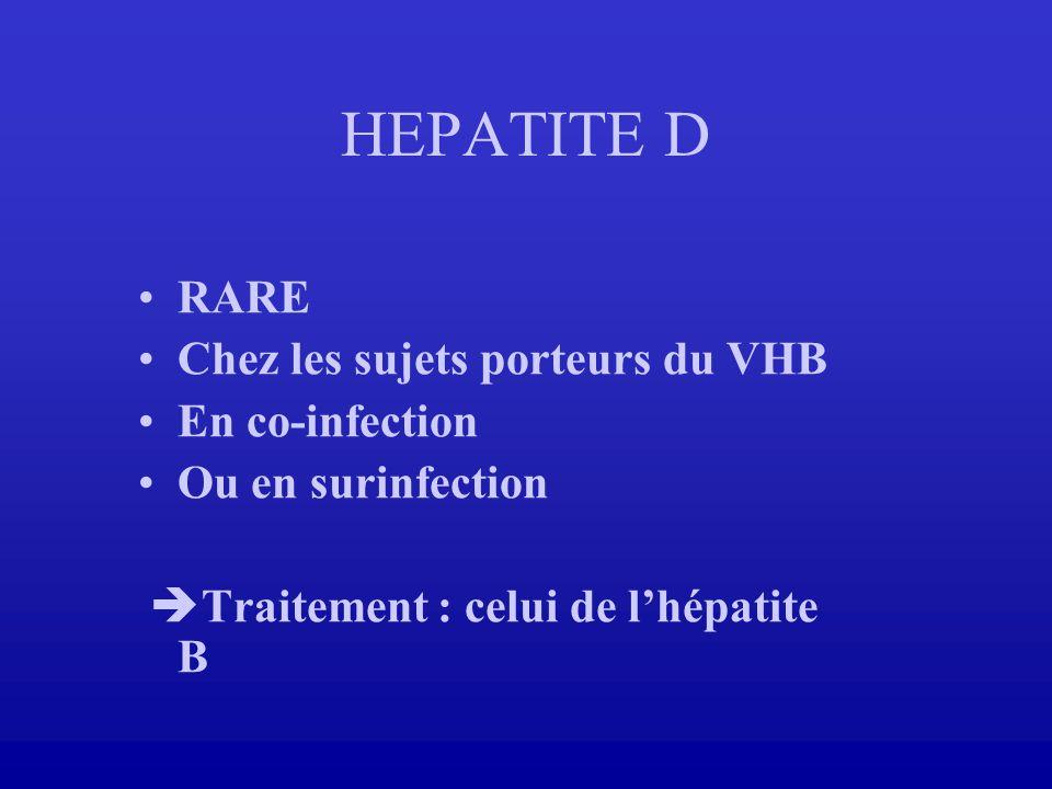 HEPATITE D RARE Chez les sujets porteurs du VHB En co-infection Ou en surinfection Traitement : celui de lhépatite B