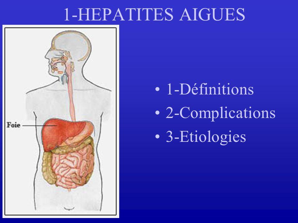 1-Définitions 2-Complications 3-Etiologies 1-HEPATITES AIGUES