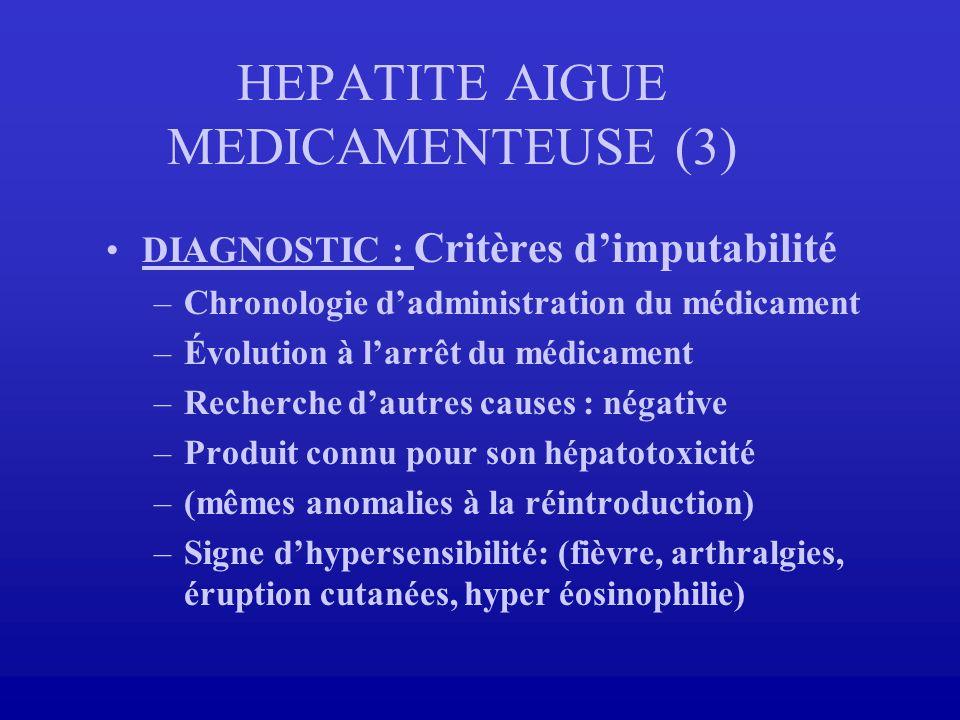 HEPATITE AIGUE MEDICAMENTEUSE (3) DIAGNOSTIC : Critères dimputabilité –Chronologie dadministration du médicament –Évolution à larrêt du médicament –Re