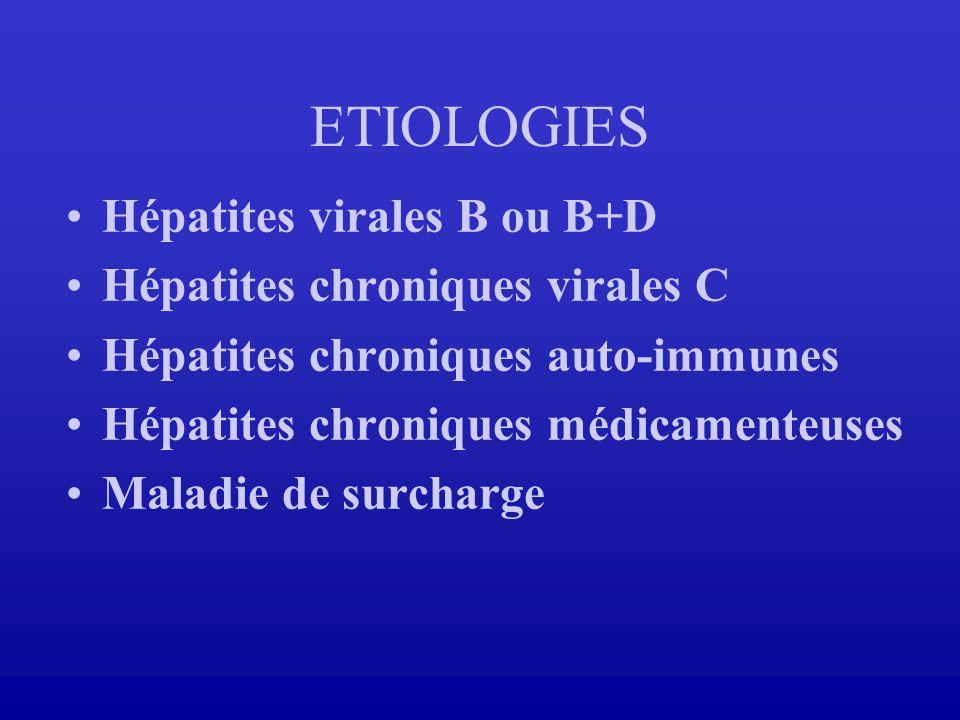 Hépatites virales B ou B+D Hépatites chroniques virales C Hépatites chroniques auto-immunes Hépatites chroniques médicamenteuses Maladie de surcharge