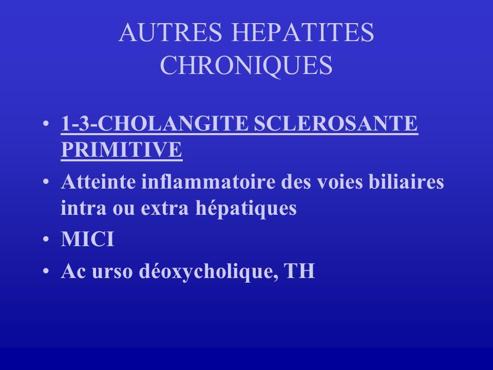1-3-CHOLANGITE SCLEROSANTE PRIMITIVE Atteinte inflammatoire des voies biliaires intra ou extra hépatiques MICI Ac urso déoxycholique, TH AUTRES HEPATI