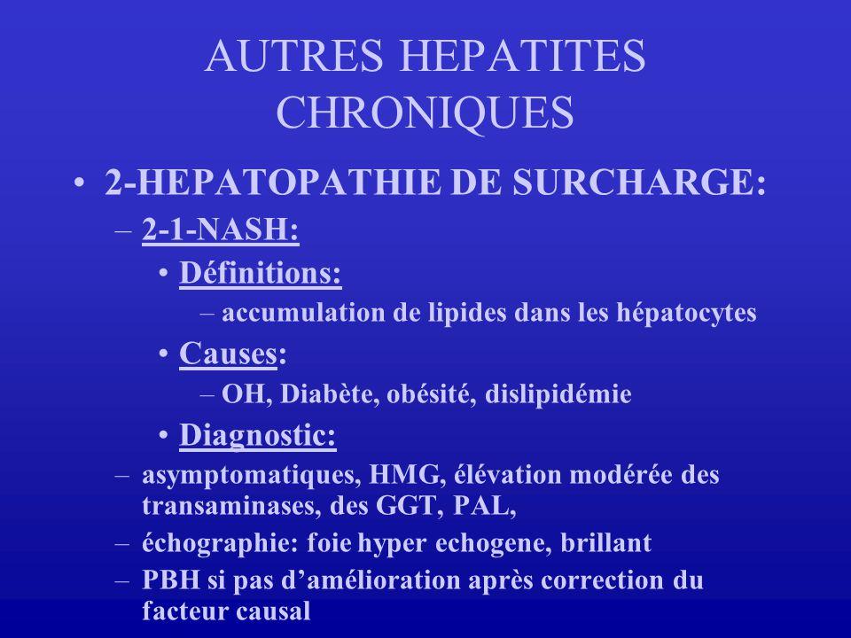 2-HEPATOPATHIE DE SURCHARGE: –2-1-NASH: Définitions: –accumulation de lipides dans les hépatocytes Causes: –OH, Diabète, obésité, dislipidémie Diagnos