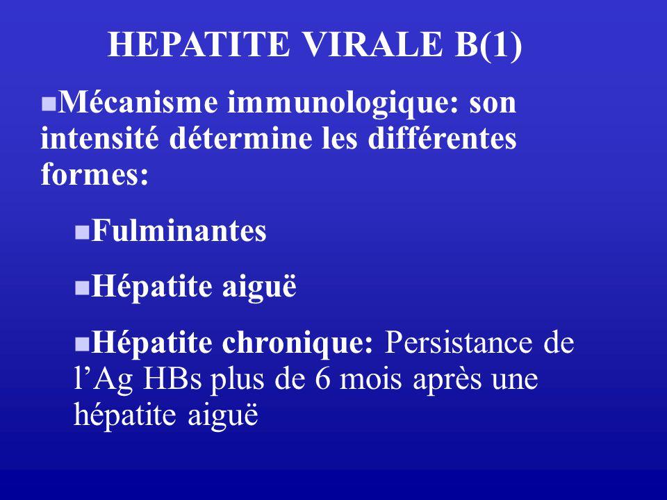 HEPATITE VIRALE B(1) Mécanisme immunologique: son intensité détermine les différentes formes: Fulminantes Hépatite aiguë Hépatite chronique: Persistan