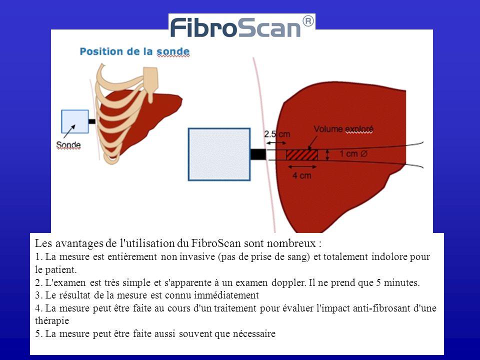 Les avantages de l'utilisation du FibroScan sont nombreux : 1. La mesure est entièrement non invasive (pas de prise de sang) et totalement indolore po