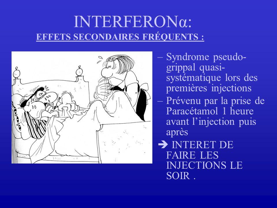 INTERFERONα: EFFETS SECONDAIRES FRÉQUENTS : –Syndrome pseudo- grippal quasi- systématique lors des premières injections –Prévenu par la prise de Parac