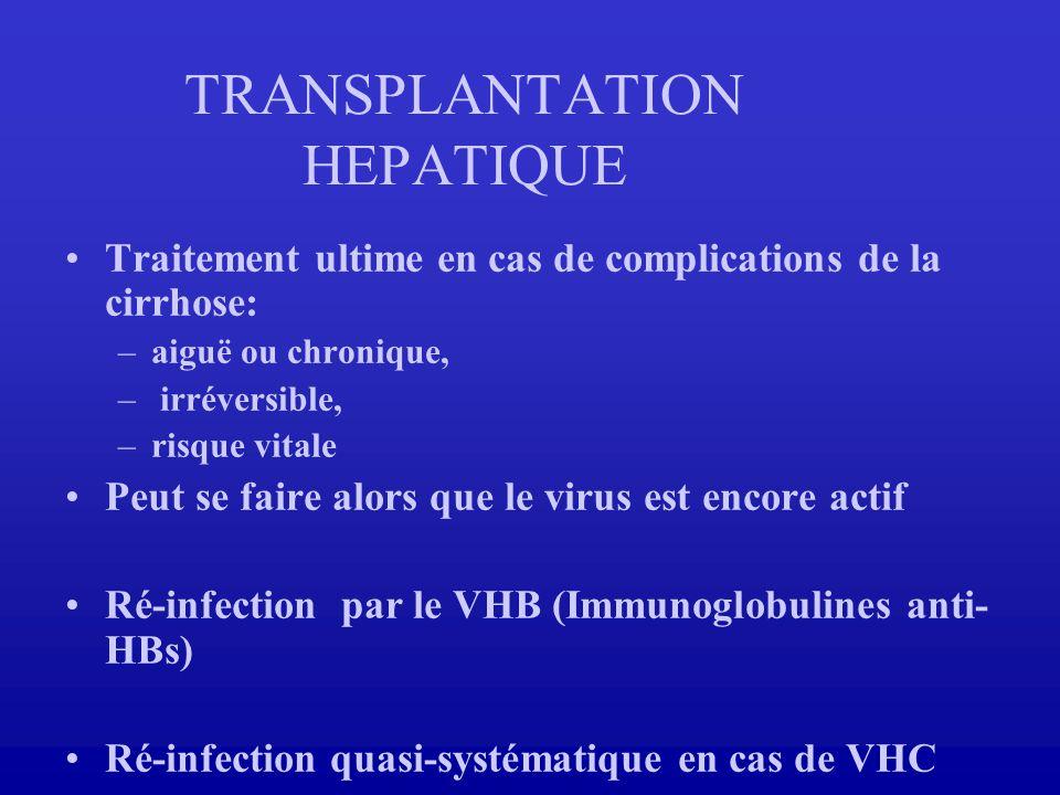 TRANSPLANTATION HEPATIQUE Traitement ultime en cas de complications de la cirrhose: –aiguë ou chronique, – irréversible, –risque vitale Peut se faire