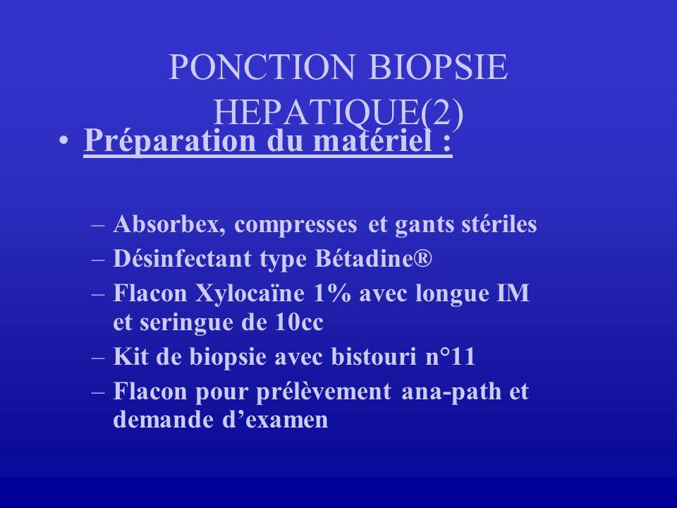 PONCTION BIOPSIE HEPATIQUE(2) Préparation du matériel : –Absorbex, compresses et gants stériles –Désinfectant type Bétadine® –Flacon Xylocaïne 1% avec