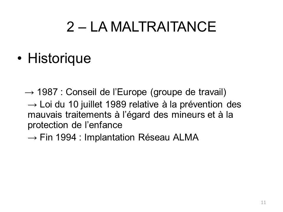 2 – LA MALTRAITANCE Historique 1987 : Conseil de lEurope (groupe de travail) Loi du 10 juillet 1989 relative à la prévention des mauvais traitements à