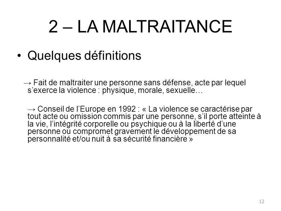 2 – LA MALTRAITANCE Quelques définitions Fait de maltraiter une personne sans défense, acte par lequel sexerce la violence : physique, morale, sexuell