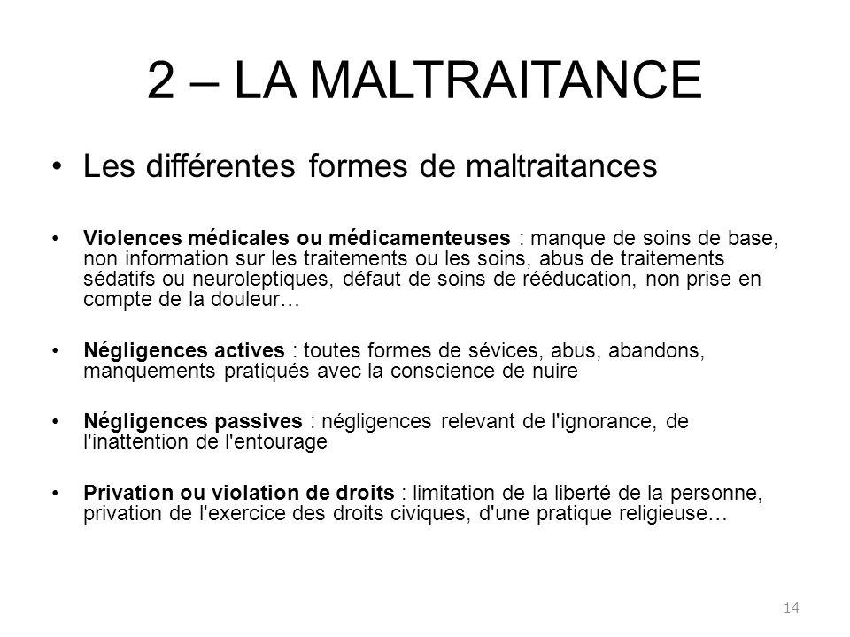 2 – LA MALTRAITANCE Les différentes formes de maltraitances Violences médicales ou médicamenteuses : manque de soins de base, non information sur les