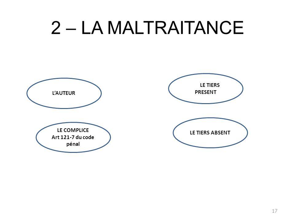 2 – LA MALTRAITANCE 17 LAUTEUR Rle LE TIERS PRESENT LE COMPLICE Art 121-7 du code pénal LE TIERS ABSENT