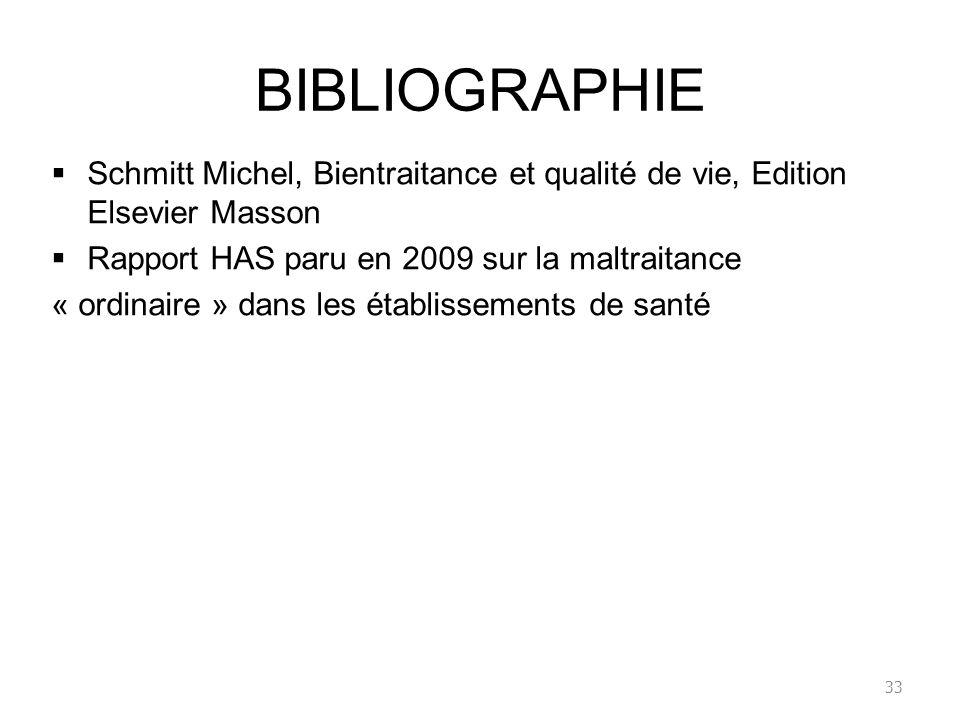 BIBLIOGRAPHIE Schmitt Michel, Bientraitance et qualité de vie, Edition Elsevier Masson Rapport HAS paru en 2009 sur la maltraitance « ordinaire » dans