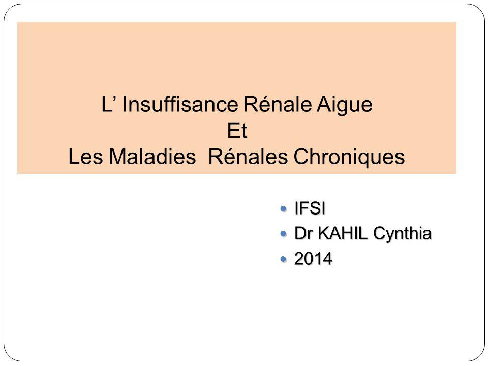 L Insuffisance Rénale Aigue Et Les Maladies Rénales Chroniques IFSI IFSI Dr KAHIL Cynthia Dr KAHIL Cynthia 2014 2014