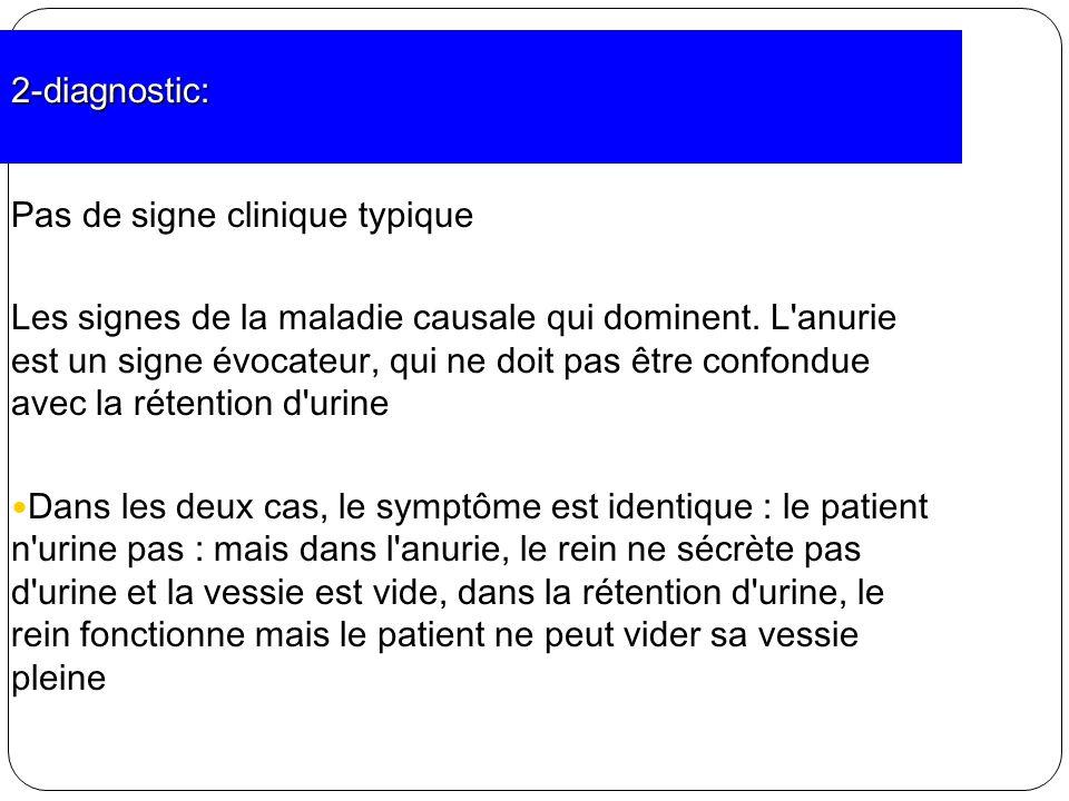 2-diagnostic: Pas de signe clinique typique Les signes de la maladie causale qui dominent. L'anurie est un signe évocateur, qui ne doit pas être confo