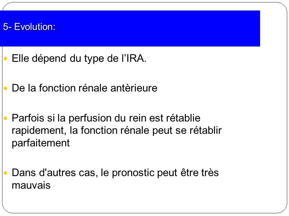 5- Evolution: Elle dépend du type de lIRA. De la fonction rénale antèrieure Parfois si la perfusion du rein est rétablie rapidement, la fonction rénal