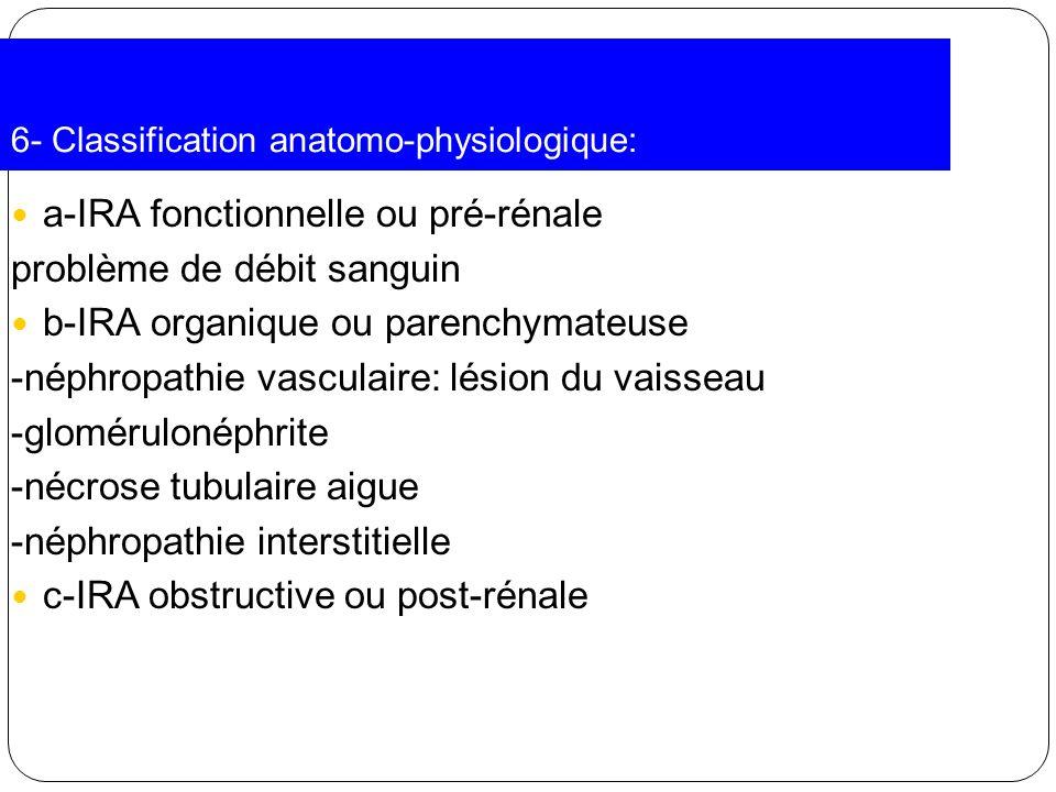 6- Classification anatomo-physiologique: a-IRA fonctionnelle ou pré-rénale problème de débit sanguin b-IRA organique ou parenchymateuse -néphropathie