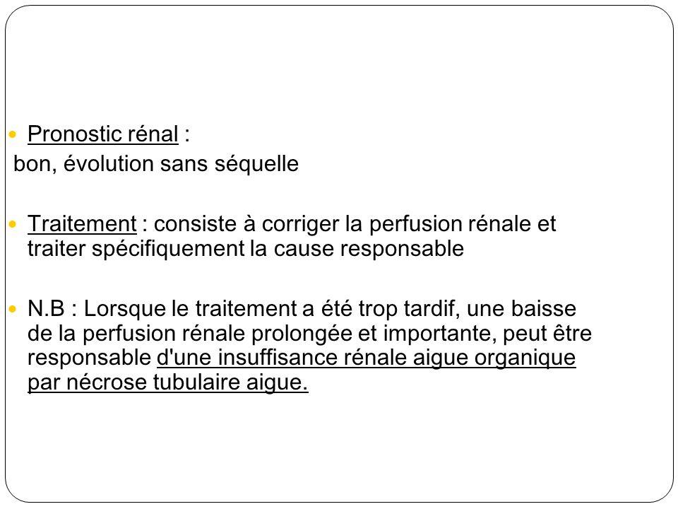 Pronostic rénal : bon, évolution sans séquelle Traitement : consiste à corriger la perfusion rénale et traiter spécifiquement la cause responsable N.B