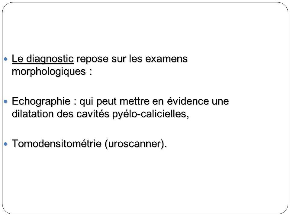 Le diagnostic repose sur les examens morphologiques : Le diagnostic repose sur les examens morphologiques : Echographie : qui peut mettre en évidence