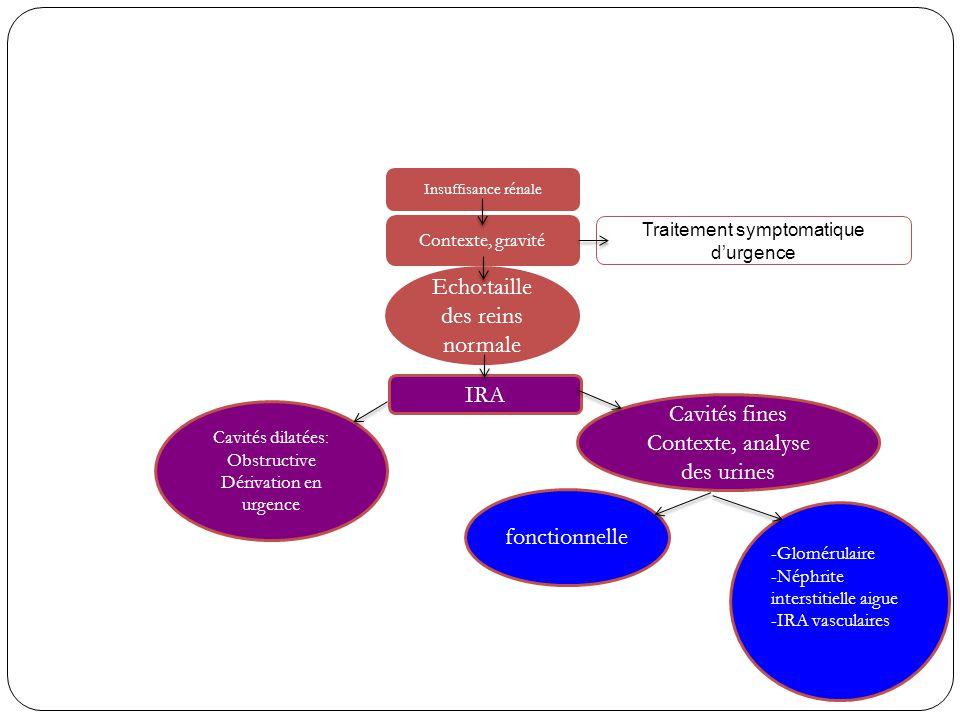 Echo:taille des reins normale Cavités dilatées: Obstructive Dérivation en urgence Cavités fines Contexte, analyse des urines Insuffisance rénale Conte