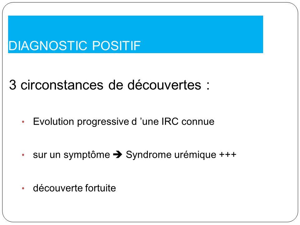 DIAGNOSTIC POSITIF 3 circonstances de découvertes : Evolution progressive d une IRC connue sur un symptôme Syndrome urémique +++ découverte fortuite
