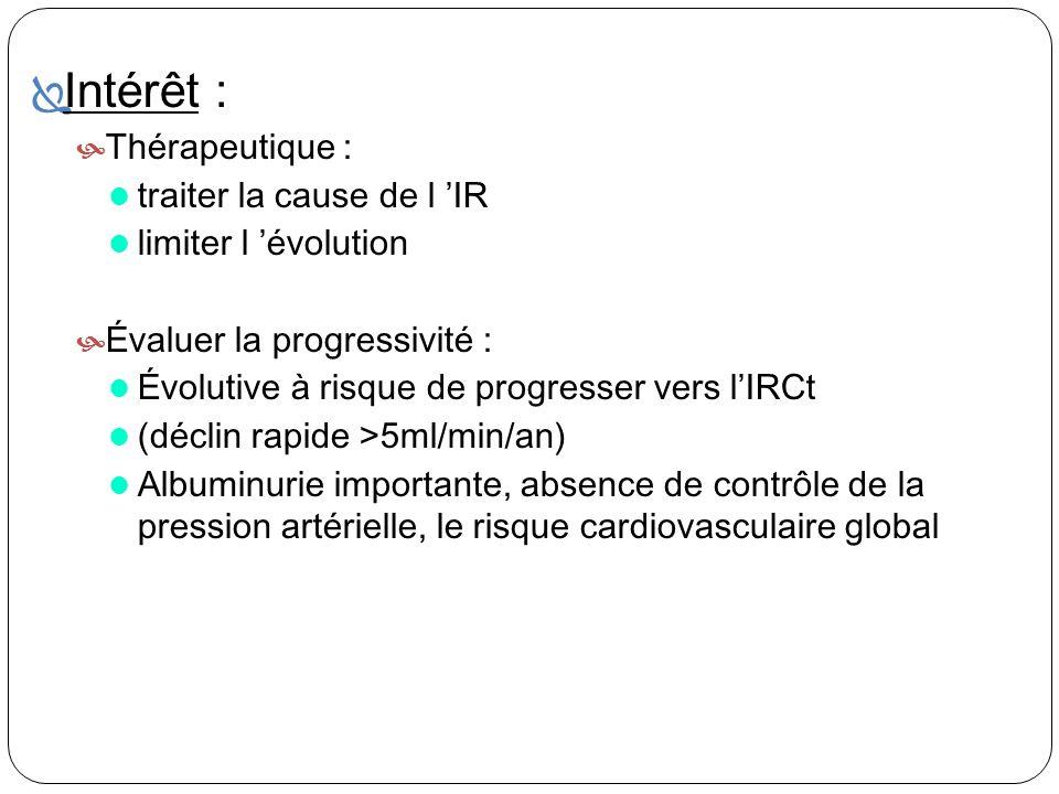 Intérêt : Thérapeutique : traiter la cause de l IR limiter l évolution Évaluer la progressivité : Évolutive à risque de progresser vers lIRCt (déclin
