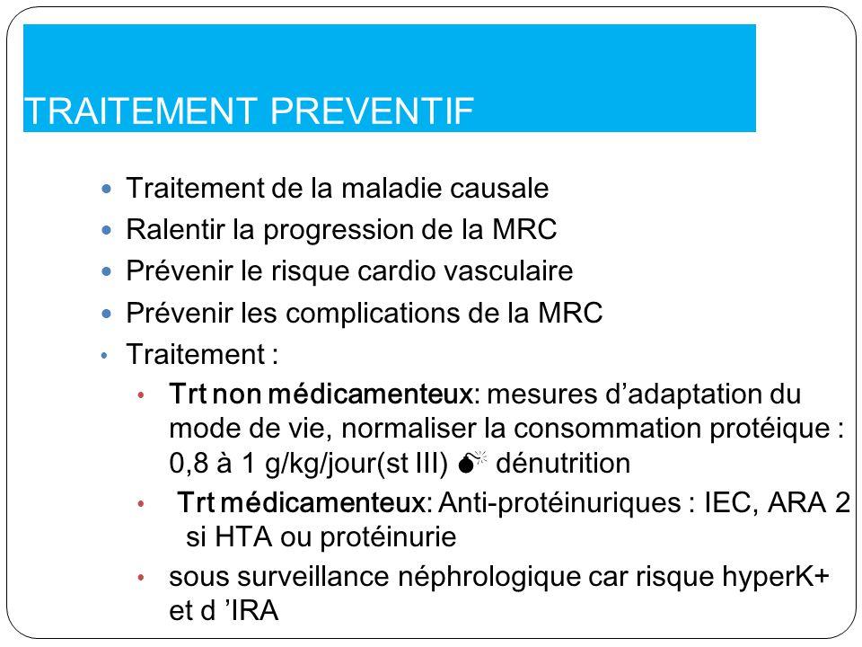 TRAITEMENT PREVENTIF Traitement de la maladie causale Ralentir la progression de la MRC Prévenir le risque cardio vasculaire Prévenir les complication