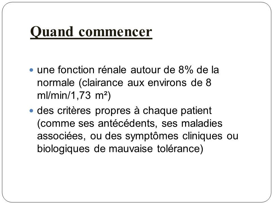Quand commencer une fonction rénale autour de 8% de la normale (clairance aux environs de 8 ml/min/1,73 m²) des critères propres à chaque patient (com