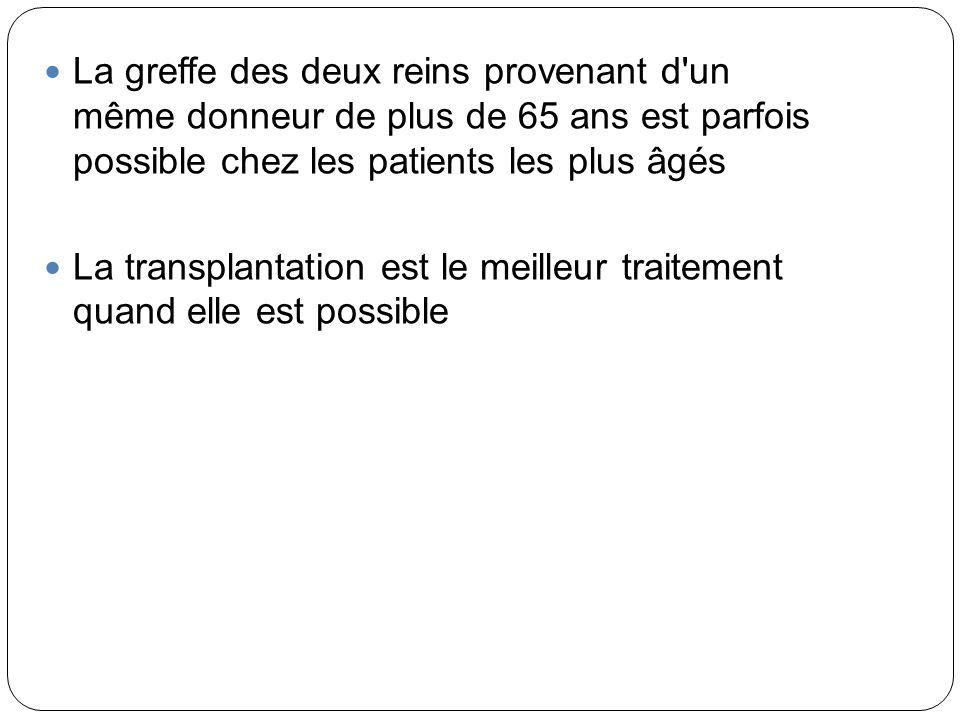 La greffe des deux reins provenant d'un même donneur de plus de 65 ans est parfois possible chez les patients les plus âgés La transplantation est le