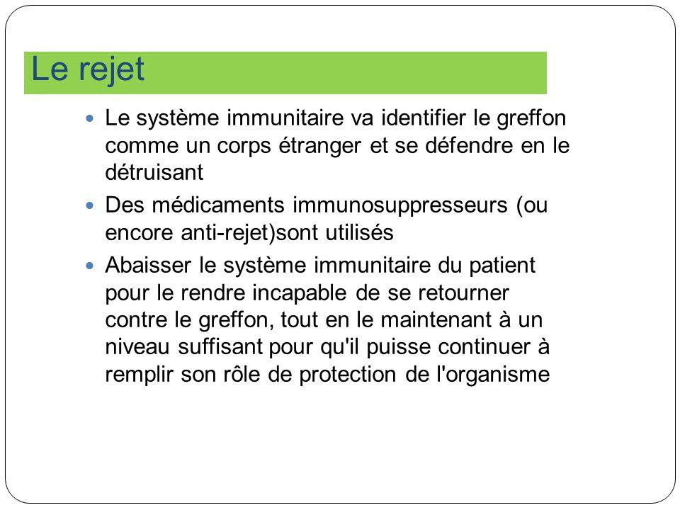 Le rejet Le système immunitaire va identifier le greffon comme un corps étranger et se défendre en le détruisant Des médicaments immunosuppresseurs (o