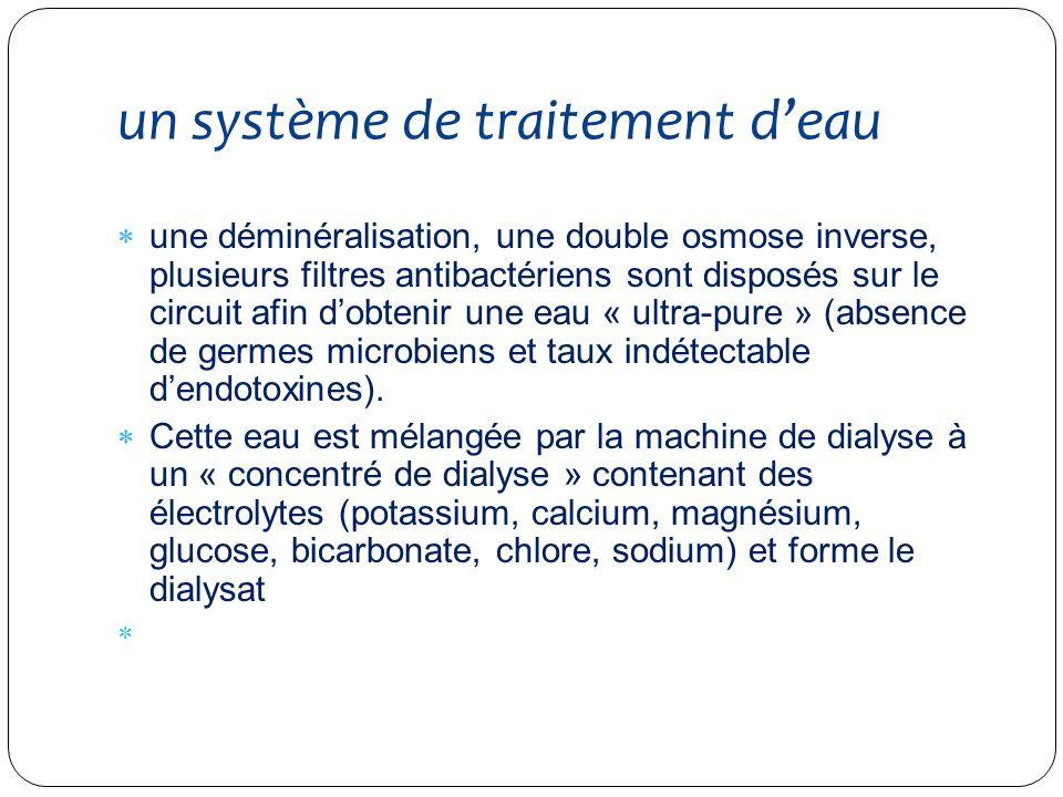 un système de traitement deau une déminéralisation, une double osmose inverse, plusieurs filtres antibactériens sont disposés sur le circuit afin dobt