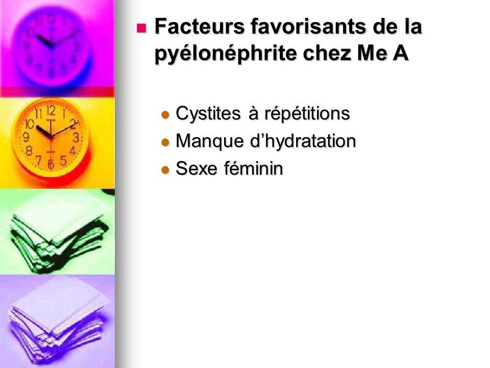Facteurs favorisants de la pyélonéphrite chez Me A Facteurs favorisants de la pyélonéphrite chez Me A Cystites à répétitions Cystites à répétitions Ma