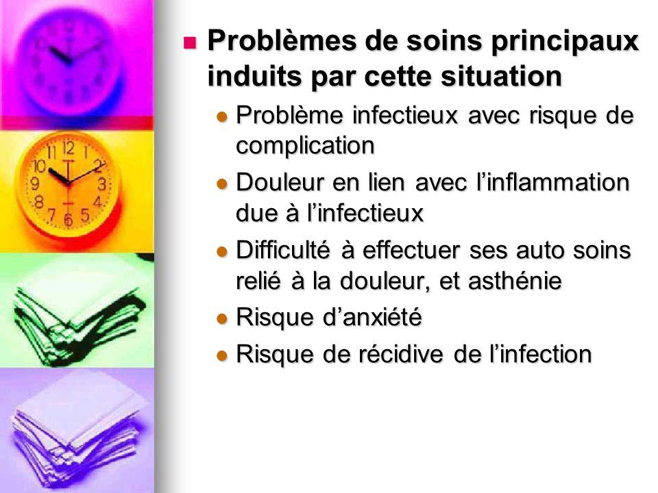 Problèmes de soins principaux induits par cette situation Problèmes de soins principaux induits par cette situation Problème infectieux avec risque de