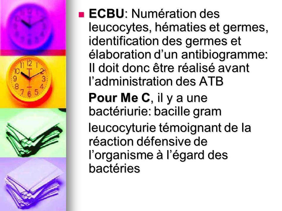 ECBU: Numération des leucocytes, hématies et germes, identification des germes et élaboration dun antibiogramme: Il doit donc être réalisé avant ladmi