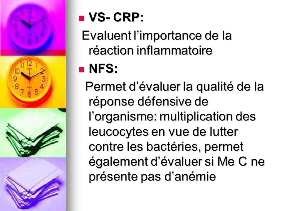 VS- CRP: VS- CRP: Evaluent limportance de la réaction inflammatoire Evaluent limportance de la réaction inflammatoire NFS: NFS: Permet dévaluer la qua