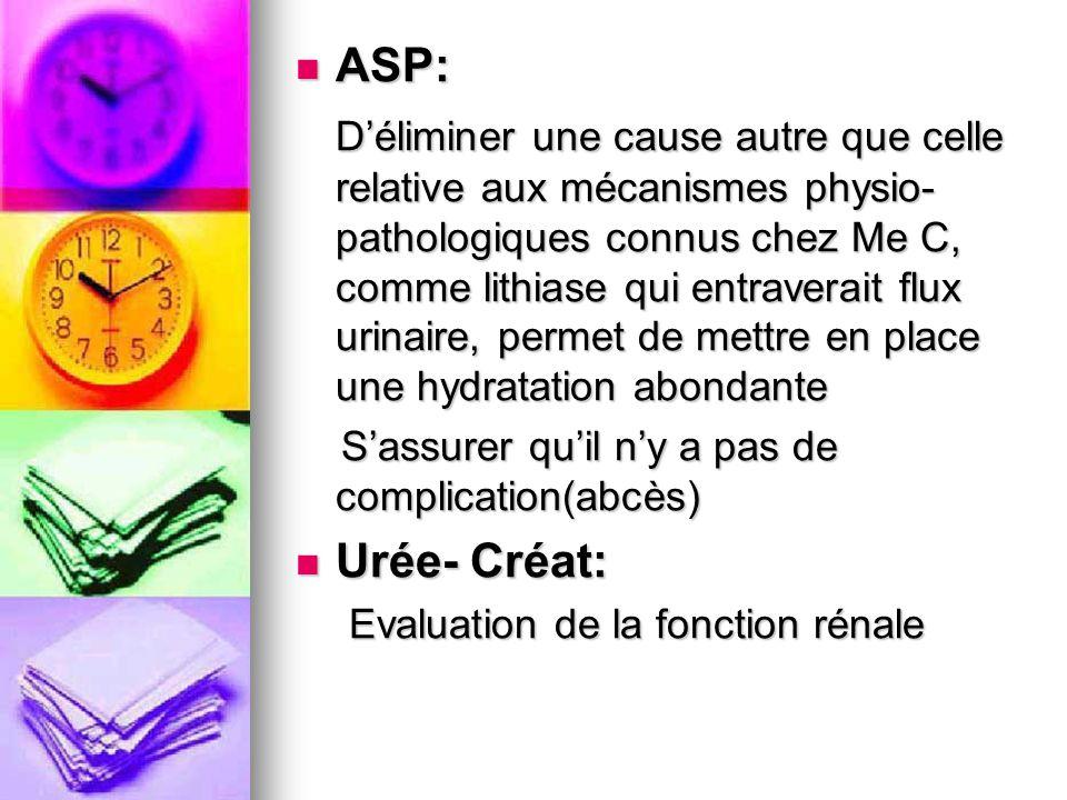 ASP: ASP: Déliminer une cause autre que celle relative aux mécanismes physio- pathologiques connus chez Me C, comme lithiase qui entraverait flux urin