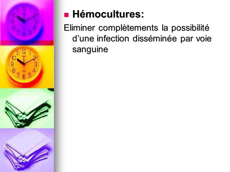 Hémocultures: Hémocultures: Eliminer complètements la possibilité dune infection disséminée par voie sanguine