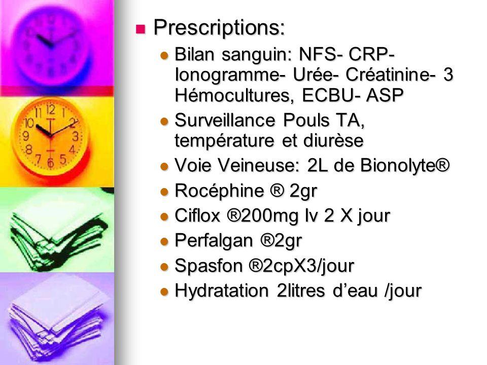 Prescriptions: Prescriptions: Bilan sanguin: NFS- CRP- Ionogramme- Urée- Créatinine- 3 Hémocultures, ECBU- ASP Bilan sanguin: NFS- CRP- Ionogramme- Ur