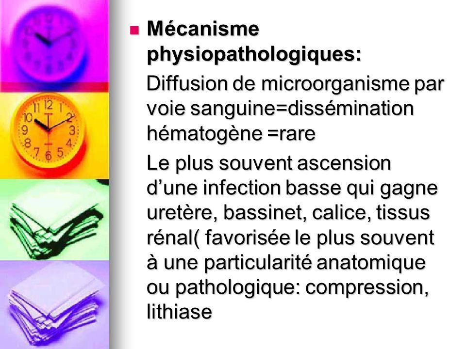 Mécanisme physiopathologiques: Mécanisme physiopathologiques: Diffusion de microorganisme par voie sanguine=dissémination hématogène =rare Diffusion d
