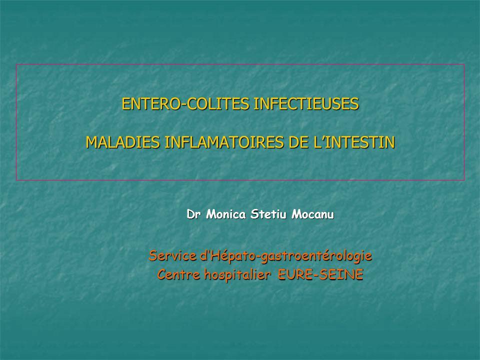 ENTERO-COLITES INFECTIEUSES MALADIES INFLAMATOIRES DE LINTESTIN Dr Monica Stetiu Mocanu Service dHépato-gastroentérologie Centre hospitalier EURE-SEIN