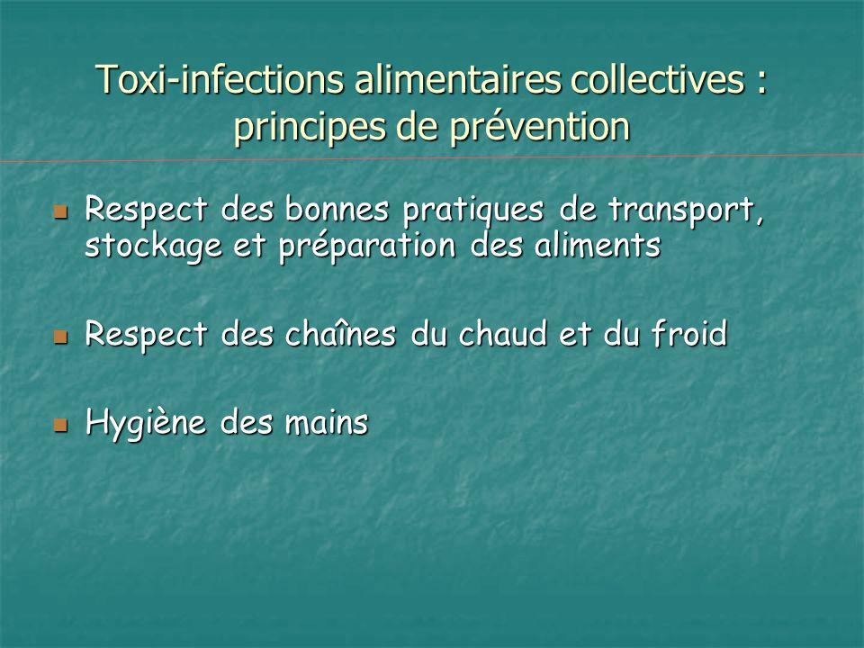 Toxi-infections alimentaires collectives : principes de prévention Respect des bonnes pratiques de transport, stockage et préparation des aliments Res