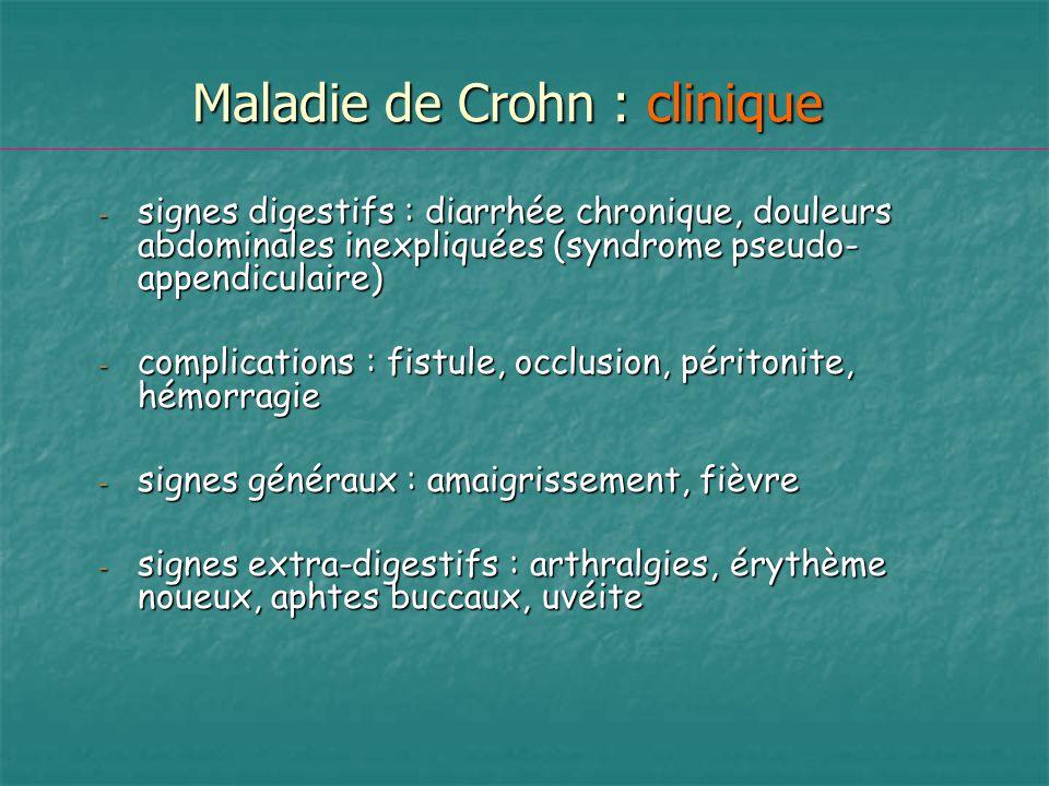 Maladie de Crohn : clinique - signes digestifs : diarrhée chronique, douleurs abdominales inexpliquées (syndrome pseudo- appendiculaire) - complicatio