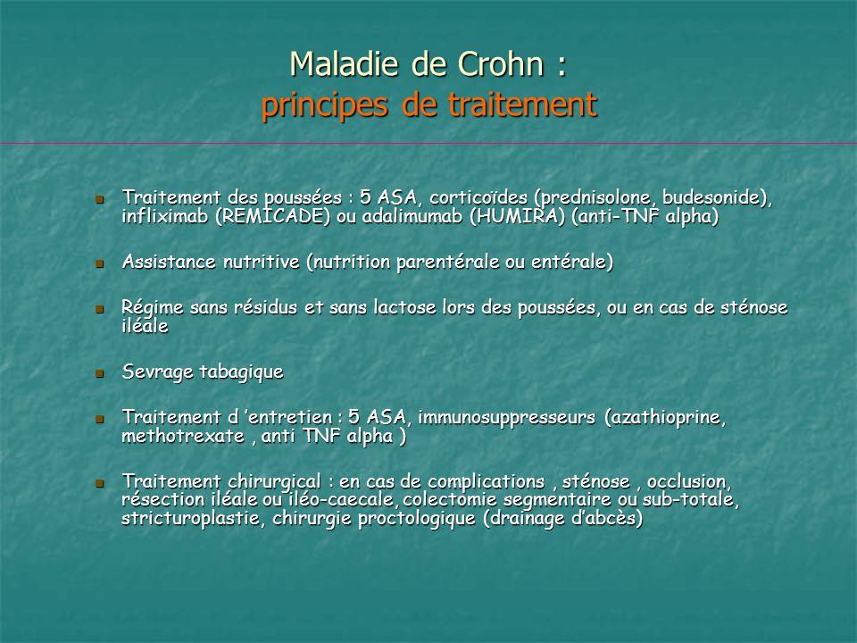Maladie de Crohn : principes de traitement Traitement des poussées : 5 ASA, corticoïdes (prednisolone, budesonide), infliximab (REMICADE) ou adalimuma