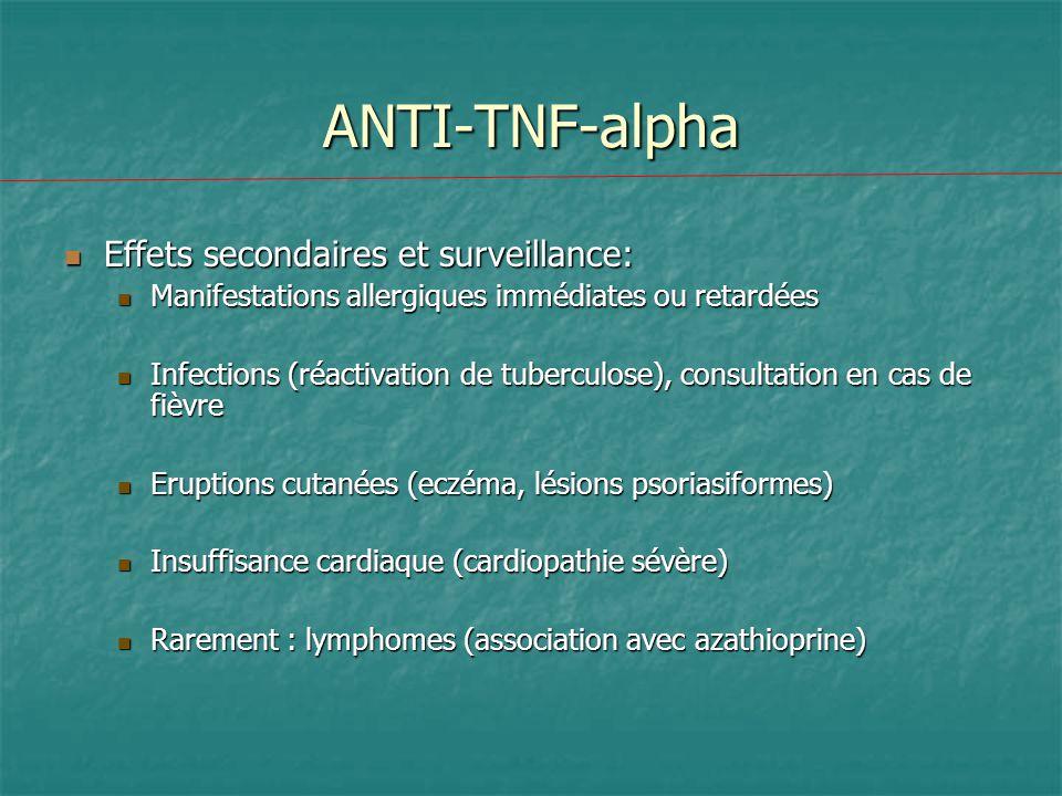 ANTI-TNF-alpha Effets secondaires et surveillance: Effets secondaires et surveillance: Manifestations allergiques immédiates ou retardées Manifestatio